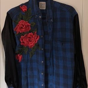 Black silk sleeve and blue rose flannel